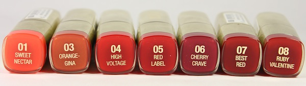 milani colorstatement oranges and reds lipstick names