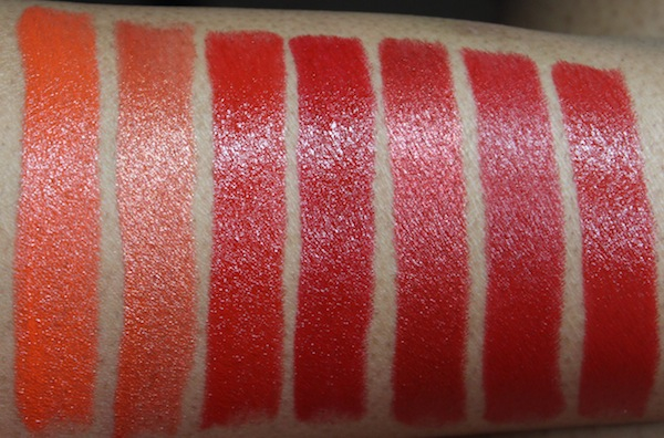 milani colorstatement oranges and reds lipstick swatches