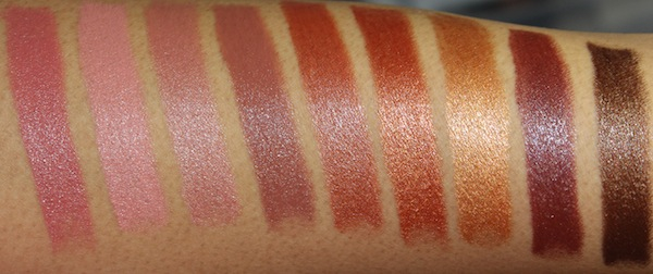 milani color statement natural and brown lipstick swatches