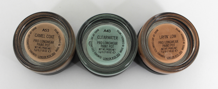 a few mac pro longwear paint pot swatches in the