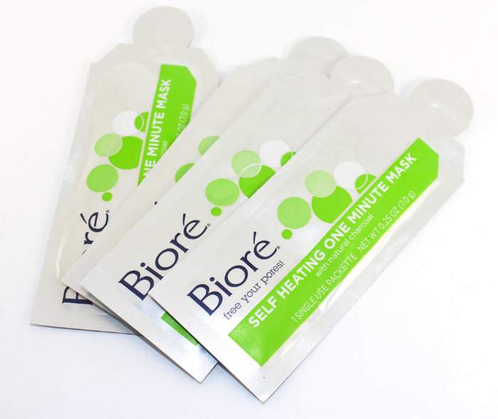 Biore Self Heating One Minute Mask packets