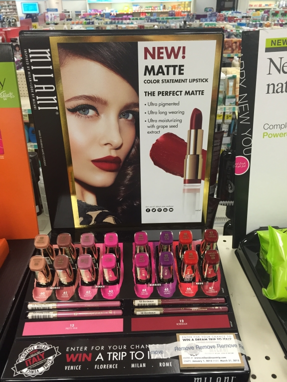 milani matte lipstick display