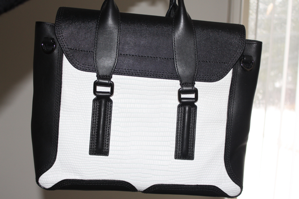 3.1 Phillip Lim White Lizard Embossed Colorblock Pashli Medium Satchel-2